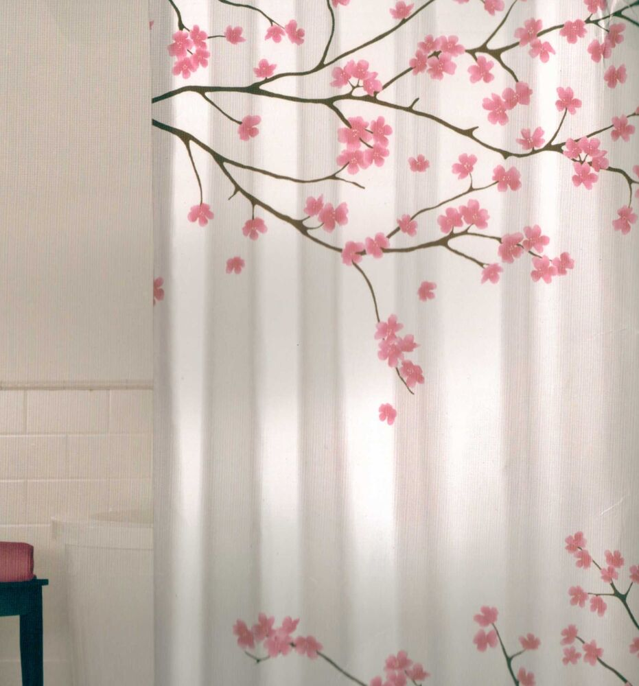 floral cherry blossom pink brown white quality fabric shower