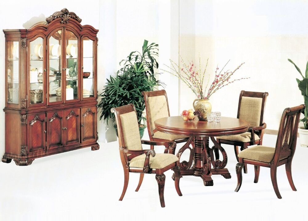 Formal charlene dining room round dining table 5pc set for Cherry dining room set