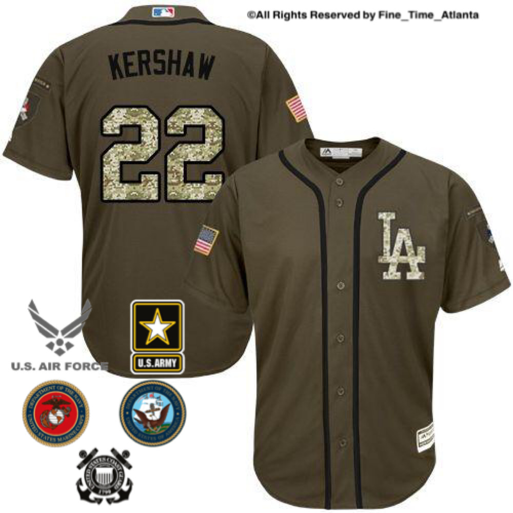 Details about Clayton Kershaw LA Dodgers Mens OD Green Salute to Service  Military Camo Jersey ae7b73c8208