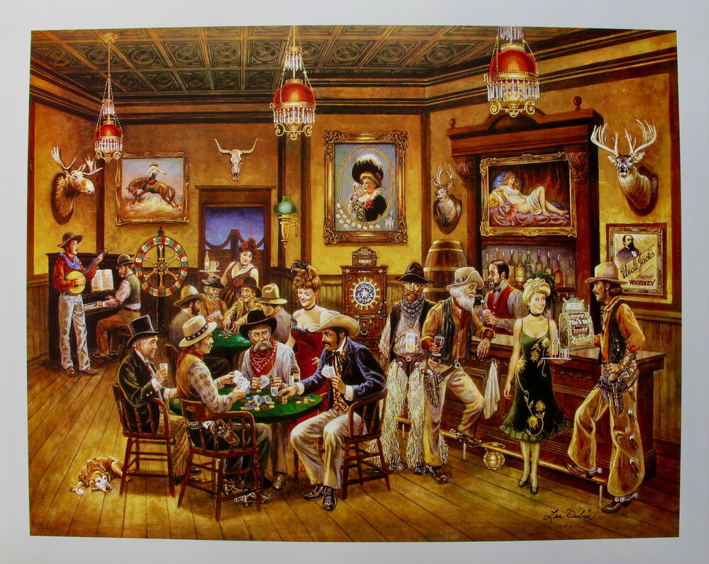 lee dubin poker saloon hand signed limited edition lithograph western art ebay. Black Bedroom Furniture Sets. Home Design Ideas