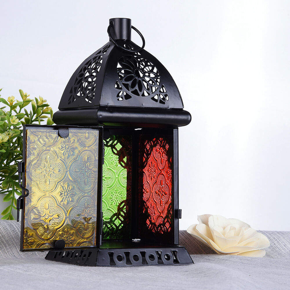 Metal glass moroccan lantern candle style holder metal hanging home decor lamp ebay Metallic home decor pinterest