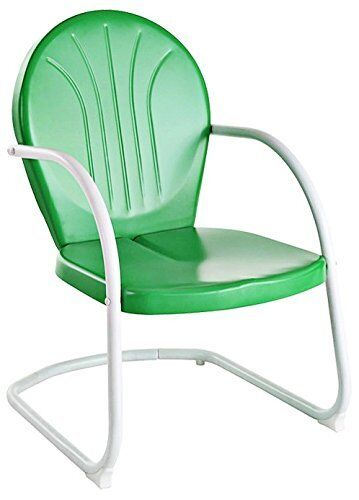 Vintage Spring Rocking Chair Metal Retro Lawn Patio Garden Deck Green Furnitu