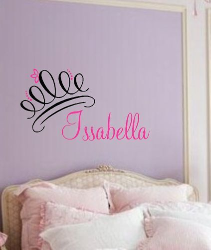 Princess Crown With Name Curly Vinyl Wall Decal Custom Decor Girls Bedroom Decor