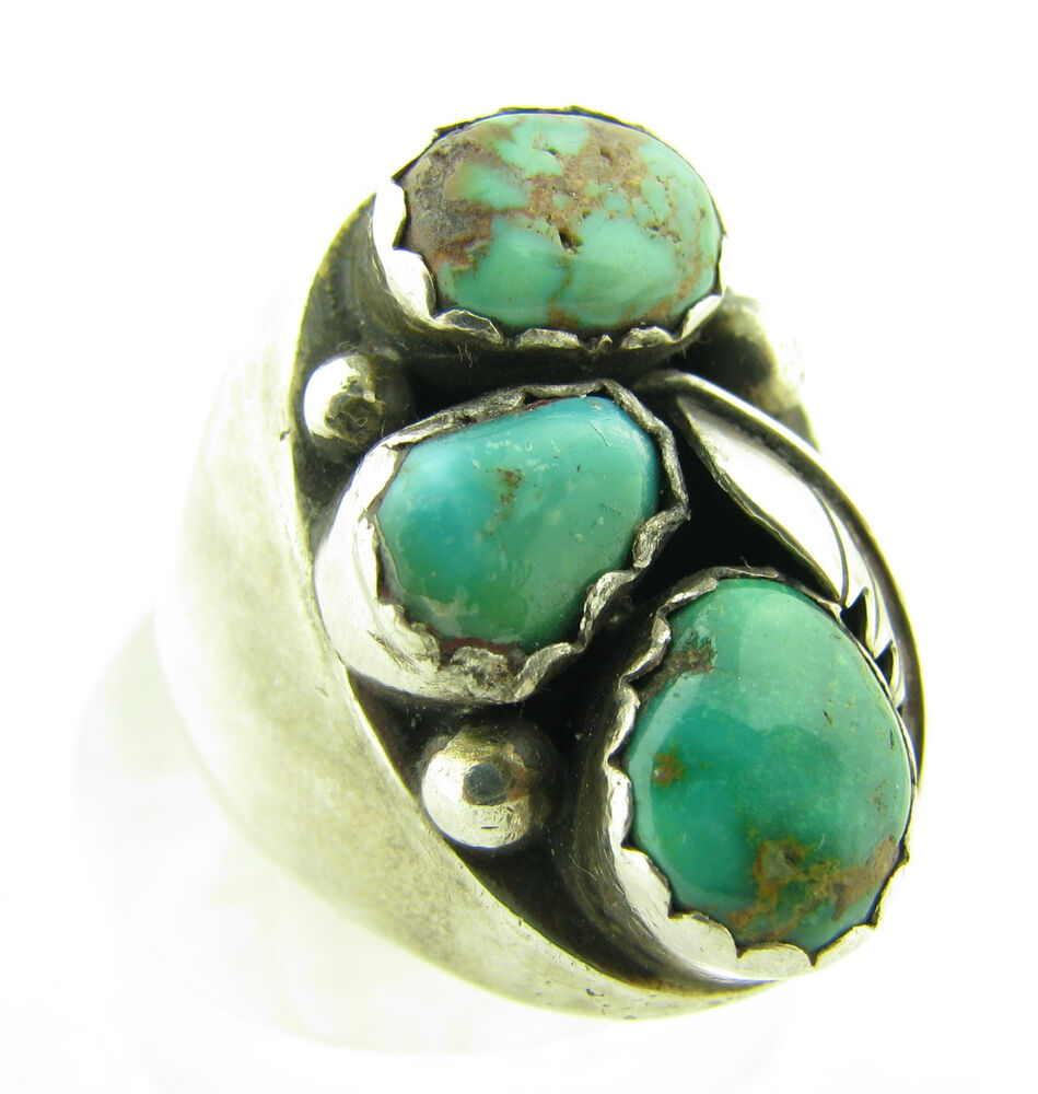 Vintage Old Pawn Signed M Chuyat Green Royston Turquoise