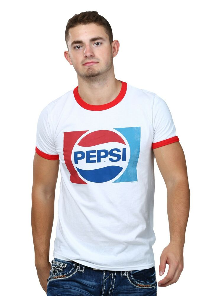 Pepsi logo mens ringer shirt ebay for Tahari t shirt mens