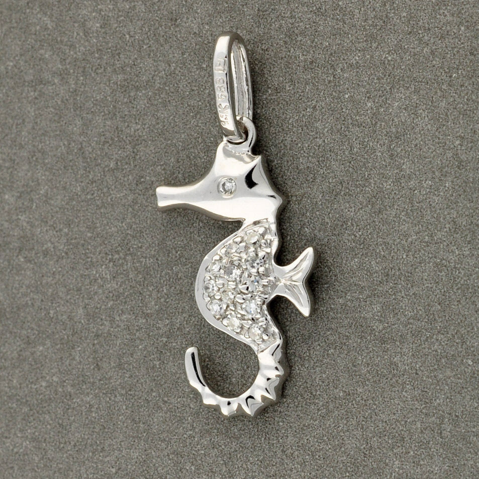 14k solid white gold seahorse charm necklace