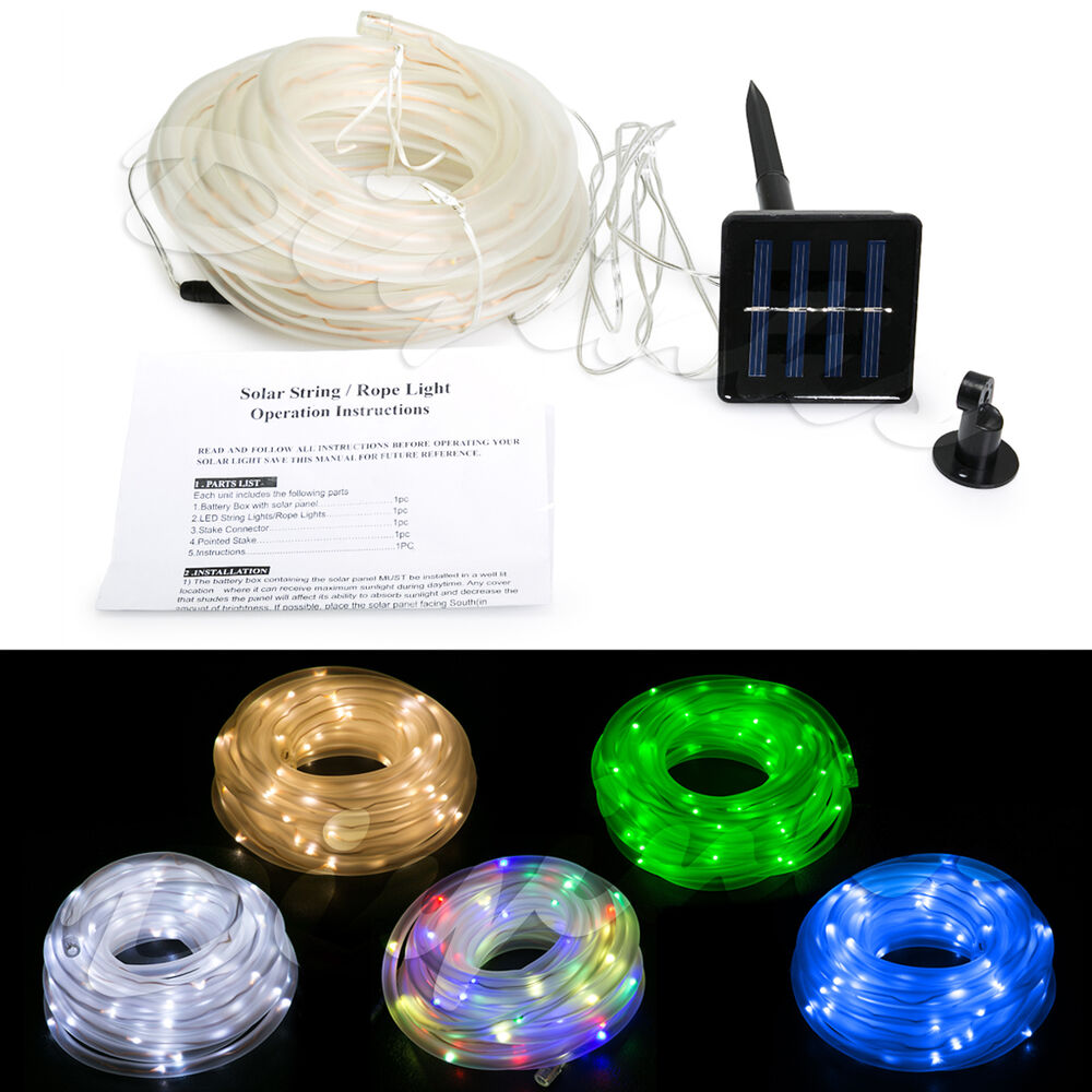 33ft outdoor solar led rope light waterproof string energy saving 33ft outdoor solar led rope light waterproof string energy saving sensor 10meter ebay aloadofball Image collections