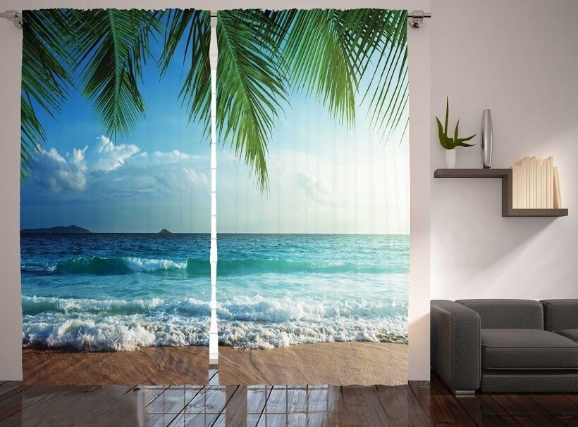 3d living room bedroom drapes curtain set tropical beach for Space themed curtains