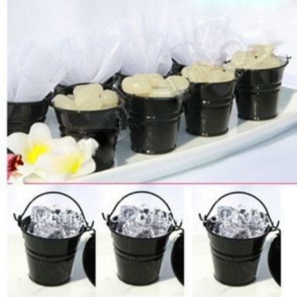 20x Mini Black Tin Pail Buckets Pots Wedding Favor Bomboniere