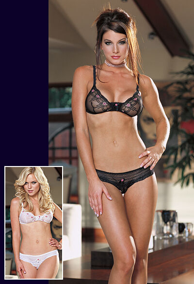 S M STUNNING SET BLACK SHEER  EMBROIDERED ROSE MESH BRA /& KNICKERS DREAMGIRL