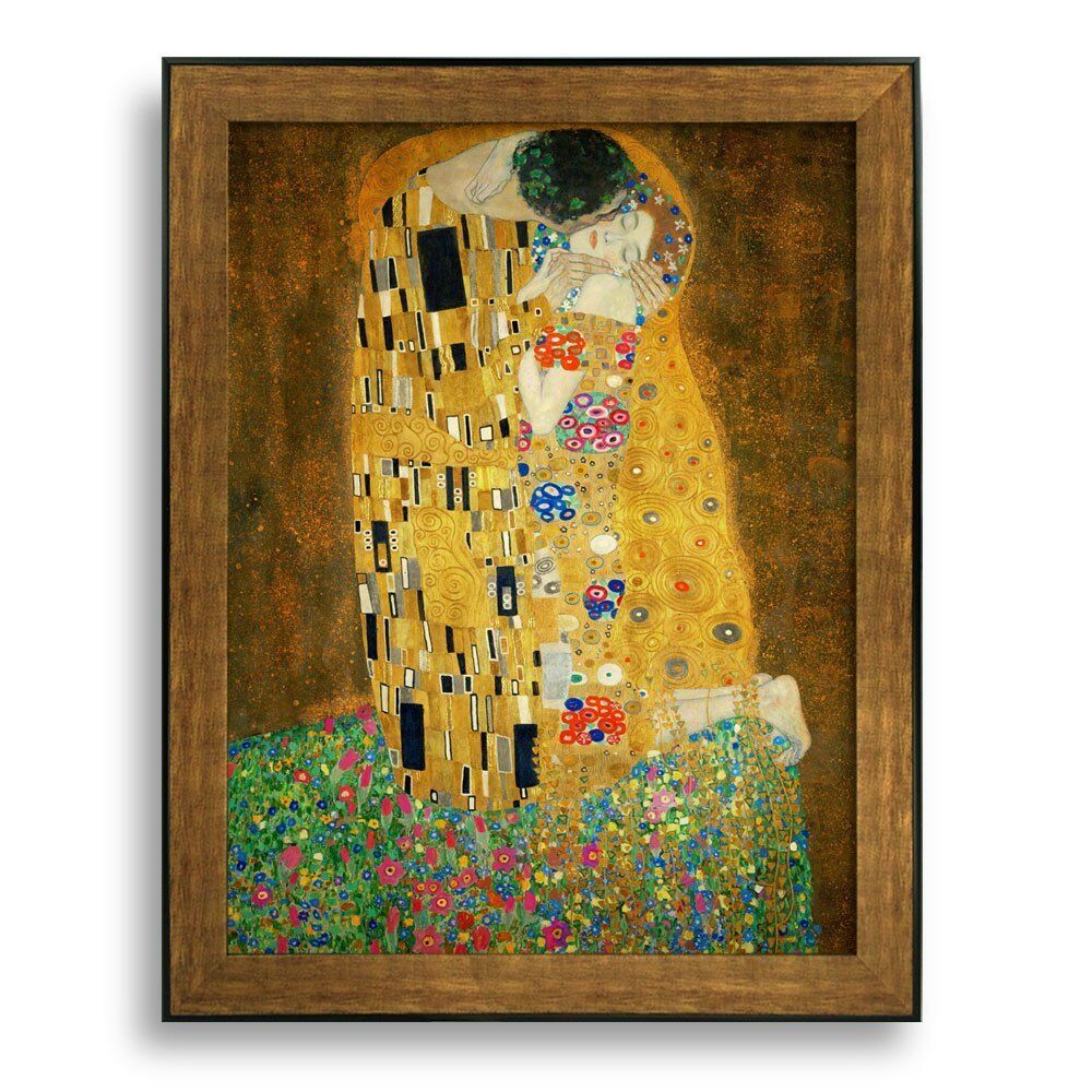 The kiss by gustav klimt framed art print famous for Wall art prints