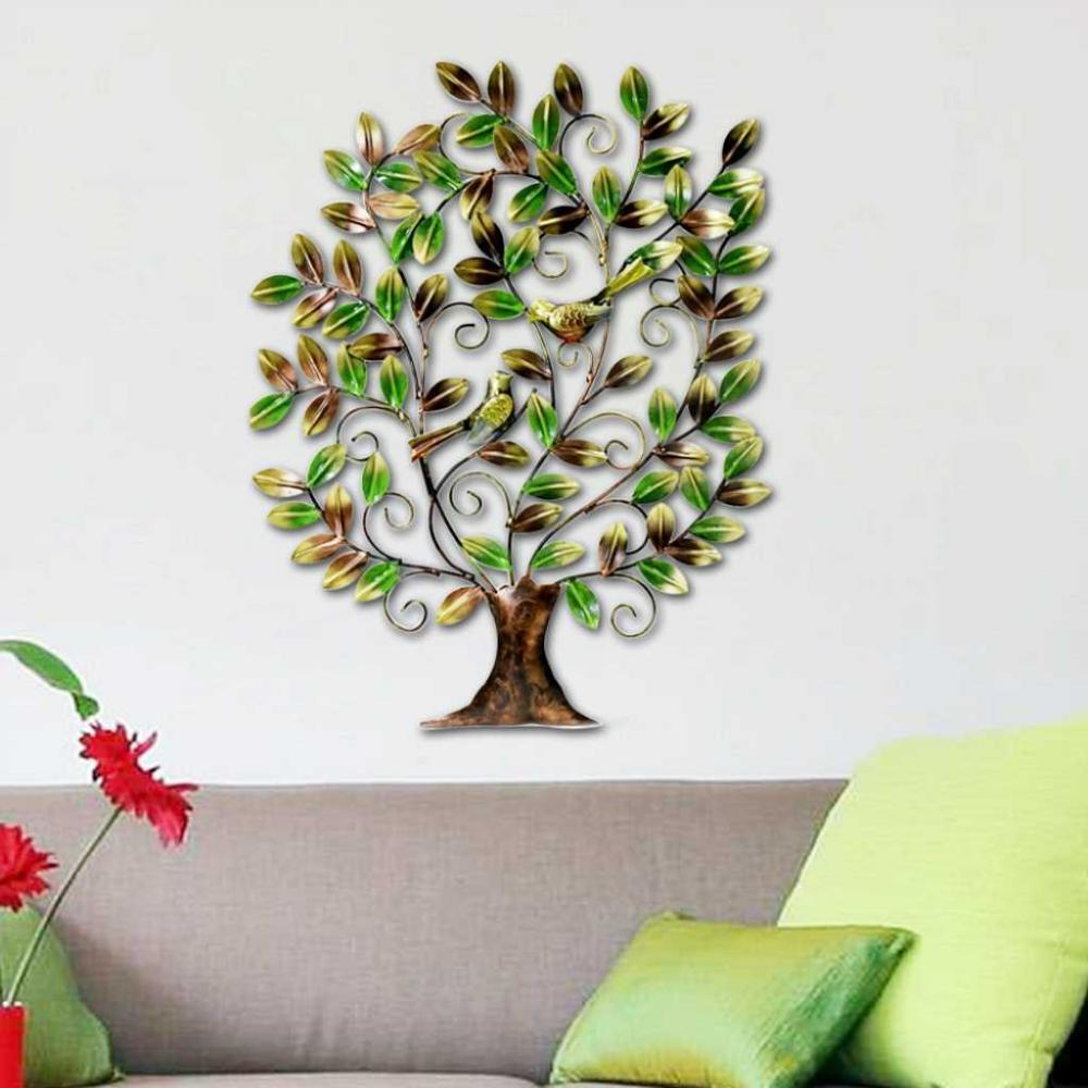 Indian handicraft metal tree of life bird sculpture art for Tree wall art