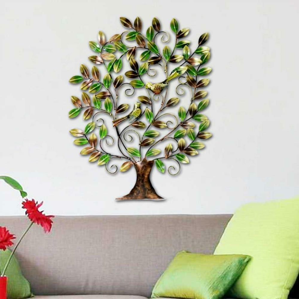 Indian handicraft metal tree of life bird sculpture art Home decor sculptures