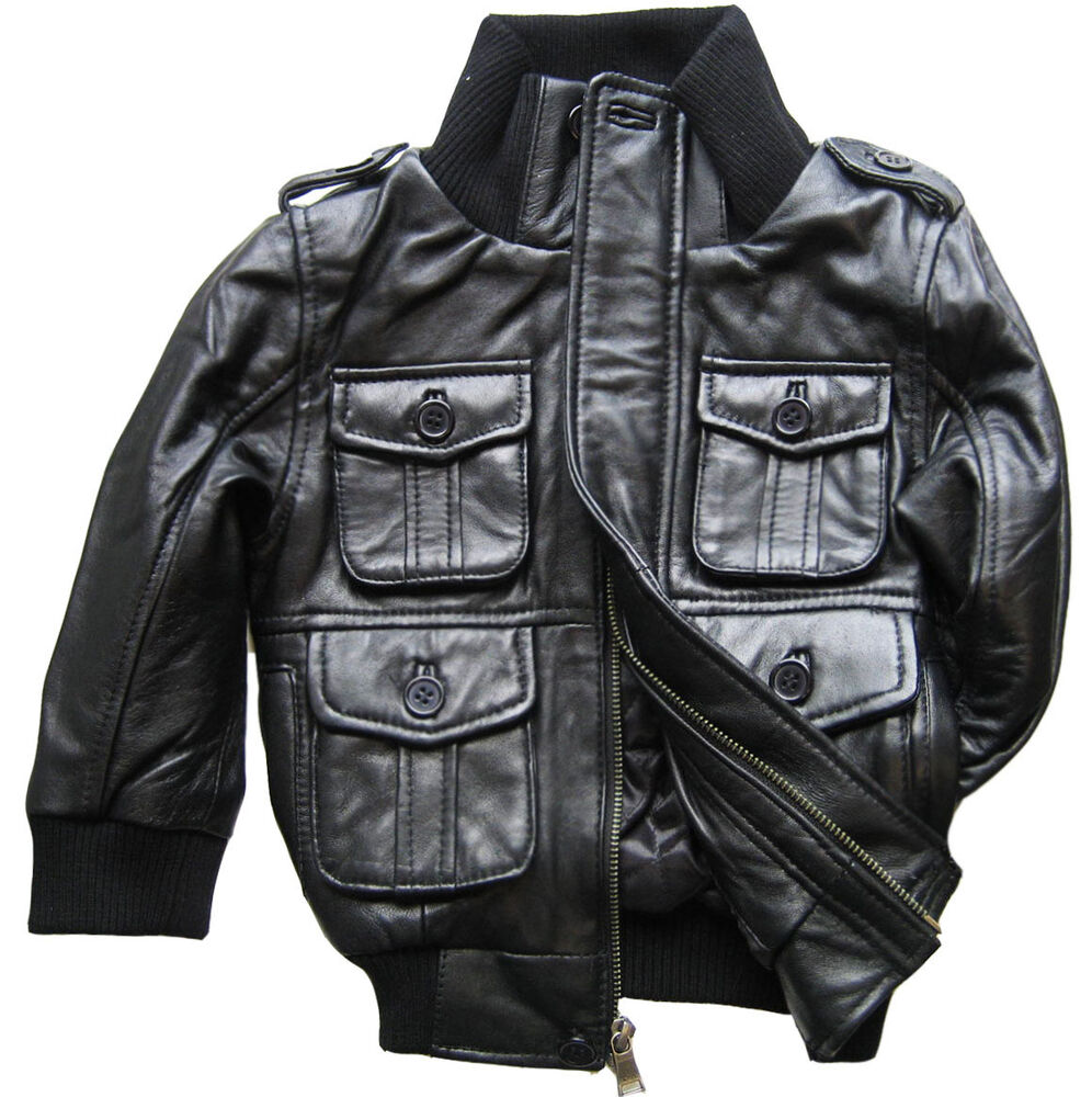 Leather baby jacket