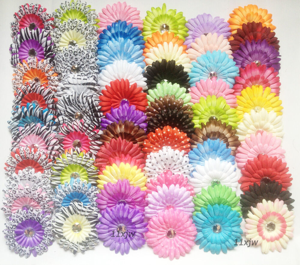 Wholesale Lot 30pcs Gerber Daisy Flower Clips Baby Girl