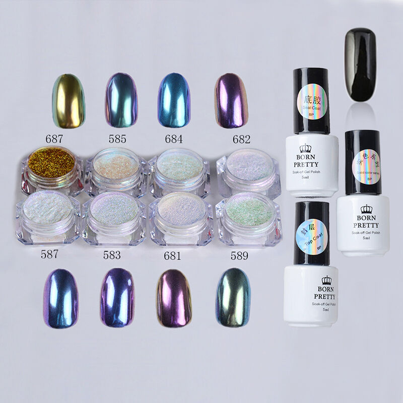 11pcs Nail Art Black Gel Polish Chameleon Chrome Dust
