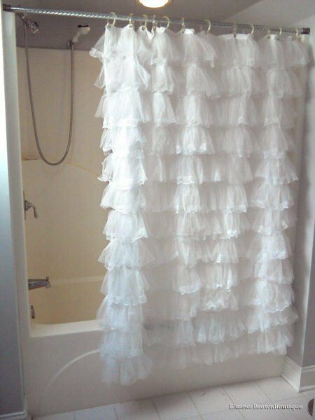 Shabby and chic white thick lace frilly romantic shower for Shabby chic rhinestone shower hooks