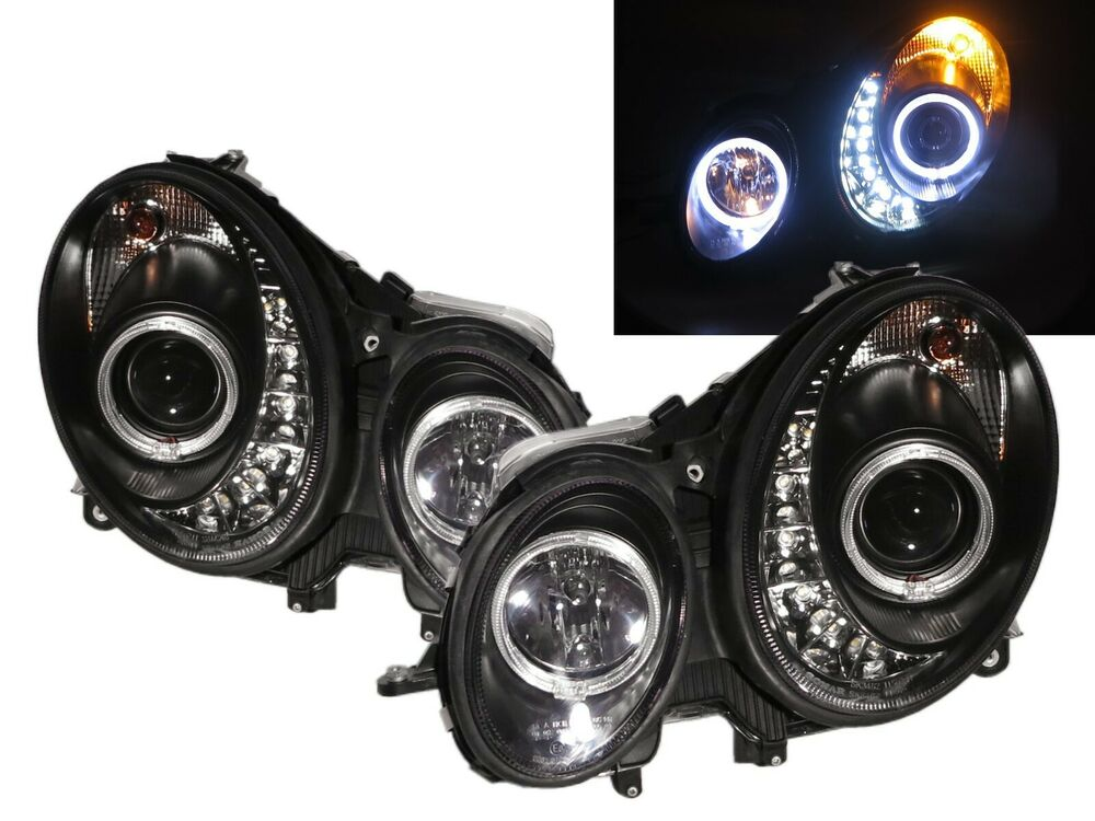W209 2003 2009 ccfl projector headlight led drl r8 style for Mercedes benz headlight