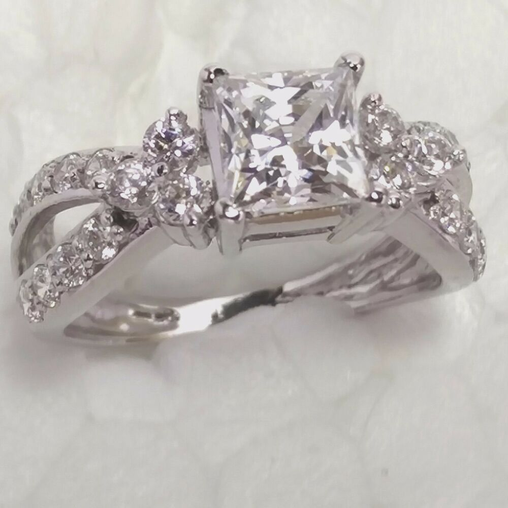 Princess Cut Diamond Engagement Ring In K White Gold