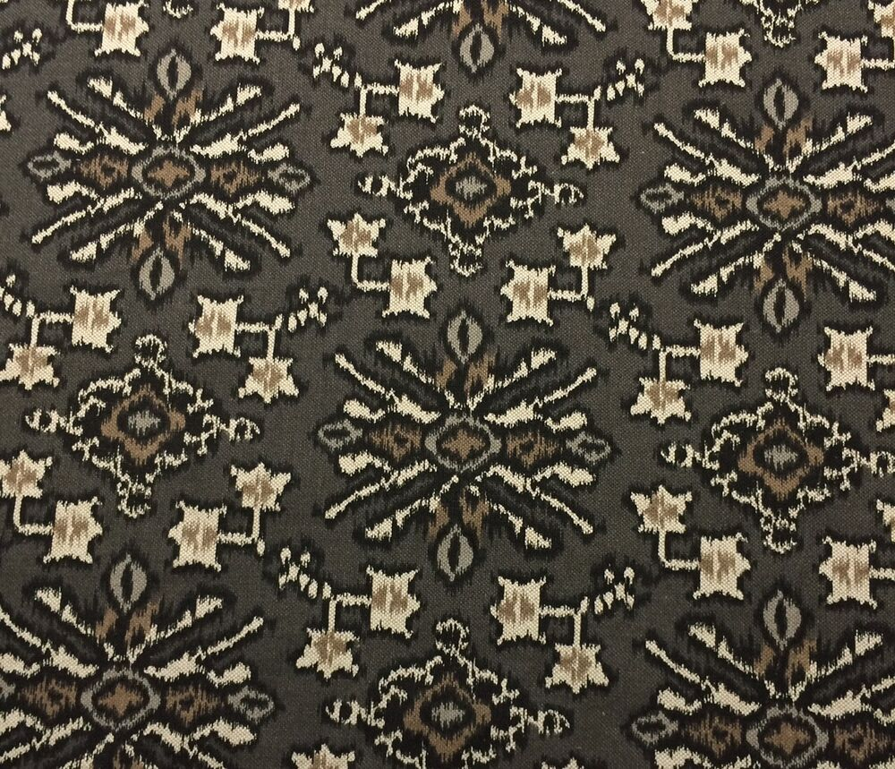 Lacefield designs alhambra mink gray ikat geometric fabric for Designer fabric by the yard