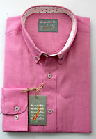Alexander Hay Mens Red Oxford Cotton Long Sleeve Casual Shirt S to 2XL C086