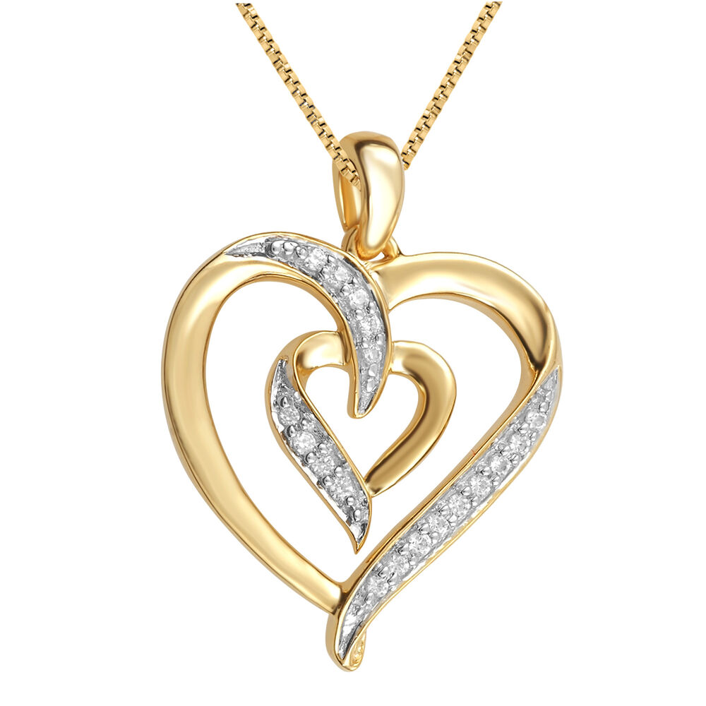yellow gold plated brass dual heart pendant necklace with. Black Bedroom Furniture Sets. Home Design Ideas