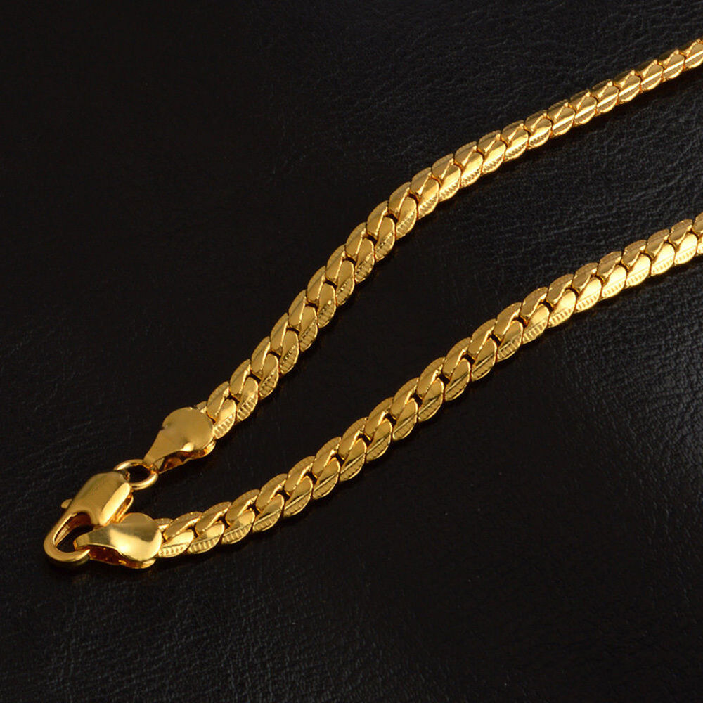 5MM Women Men Luxury 18K Gold Plated Necklace Neck Chain ...