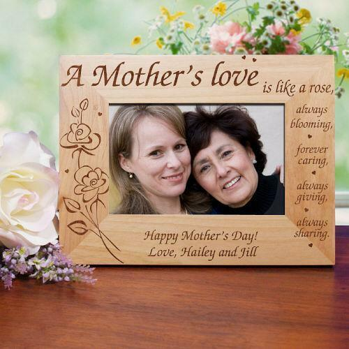 Personalized Mothers Day Picture Frame A Mother 39 S Love Engraved Wood Photo Frame Ebay