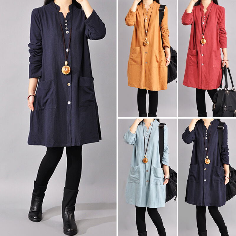 New womens cotton linen long sleeve buttons down shirt for Women s button down dress shirts