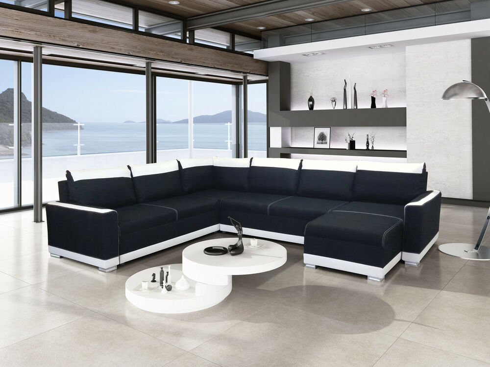 ecksofa couch funto pano mit schlaffunktion eckcouch sofagarnitur 01 mit led ebay. Black Bedroom Furniture Sets. Home Design Ideas