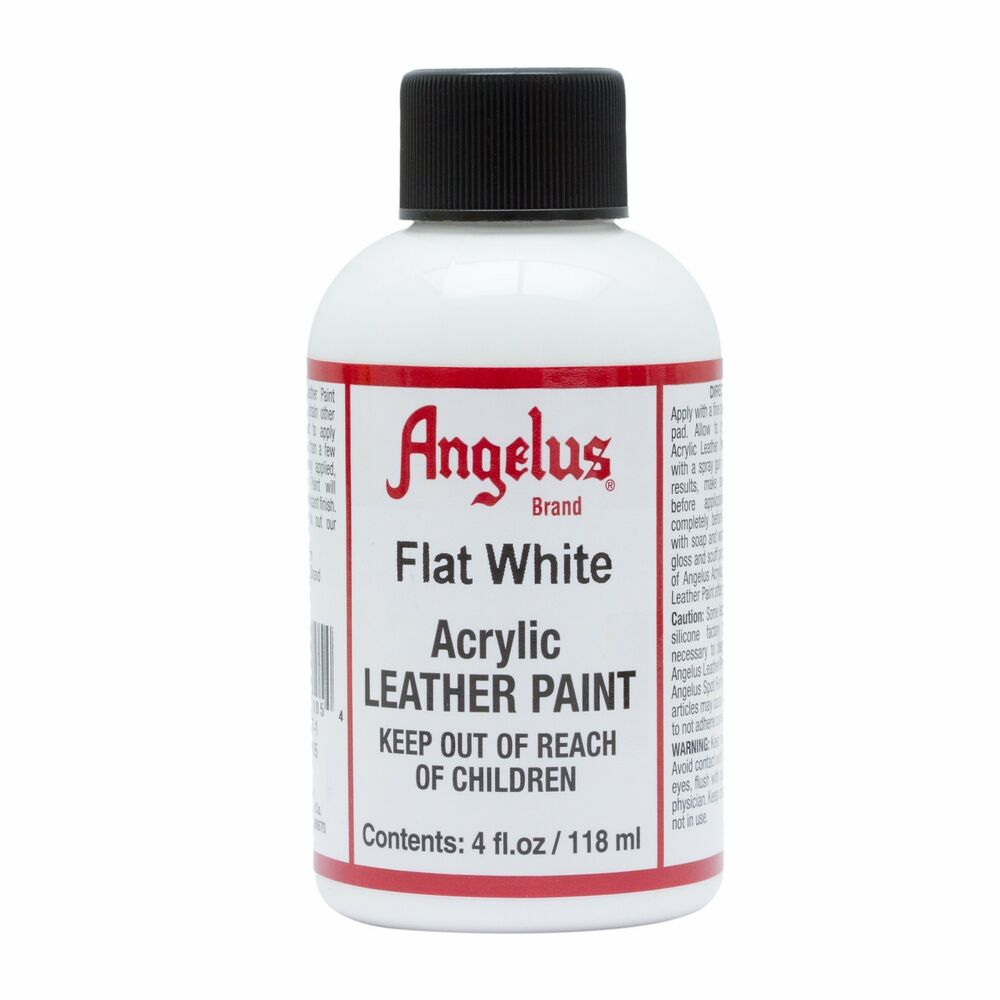 angelus flat white acrylic leather paint dye 4 oz bottle for shoes bags boots ebay. Black Bedroom Furniture Sets. Home Design Ideas