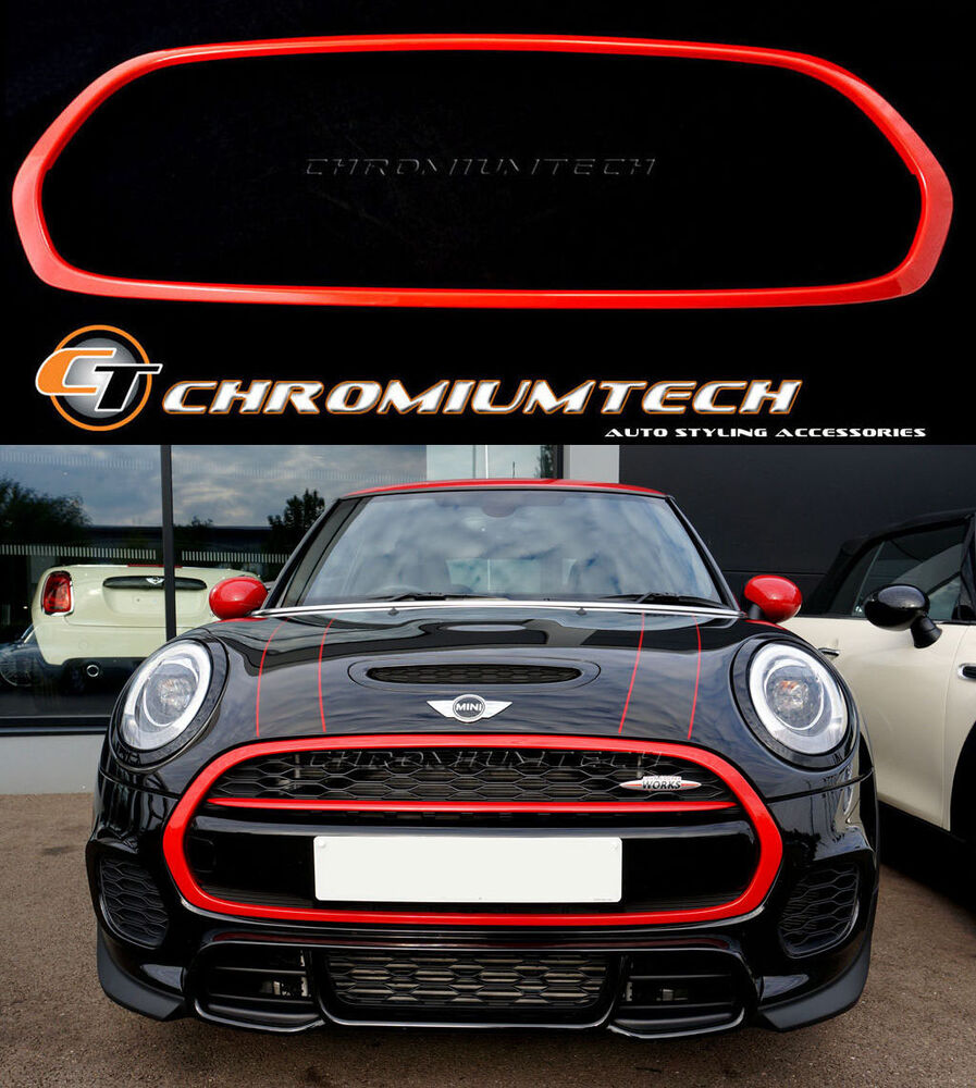mk3 mini cooper s one jcw f55 f56 f57 red front grill trim. Black Bedroom Furniture Sets. Home Design Ideas