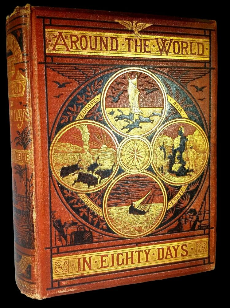 around the world in eighty days 1873 first edition jules. Black Bedroom Furniture Sets. Home Design Ideas