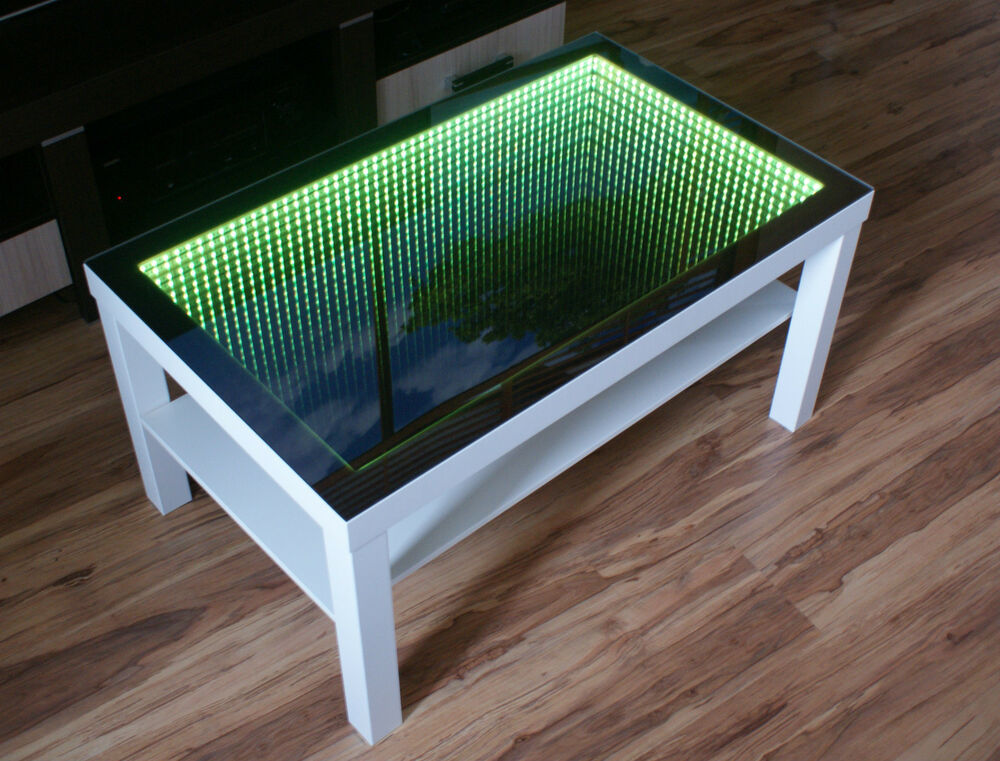 White table led 3d coffee table illuminated infinity mirror effect remote rf ebay Led coffee table