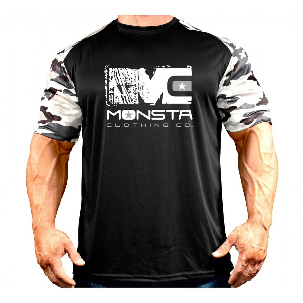 Monsta clothing mens dri fit camo sleeve moisture wicking for Dri fit dress shirts