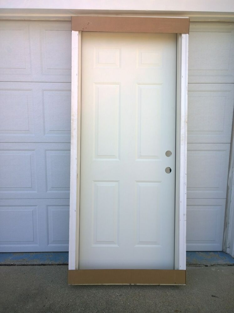 Brand new 32 x80 steel exterior door wood frame ebay for Outside doors and frames