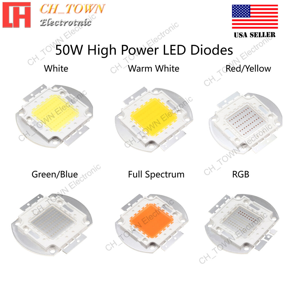 high power 50w watts smd led chip cob lamp white red blue green uv lights board ebay. Black Bedroom Furniture Sets. Home Design Ideas