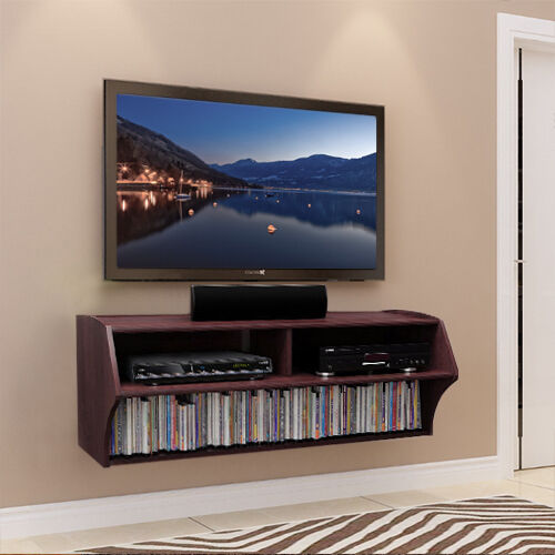 brown floating wall mounted tv stand console with storage. Black Bedroom Furniture Sets. Home Design Ideas