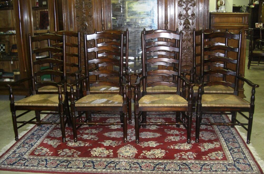 Set Of 8 Antique Style Country French Ladderback Dining