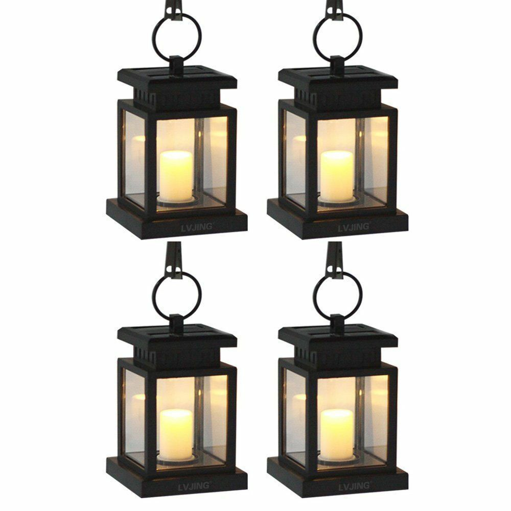 Solar Garden Light Lantern: 4Pcs Outdoor Hanging Candle Light Solar Powered Led Garden