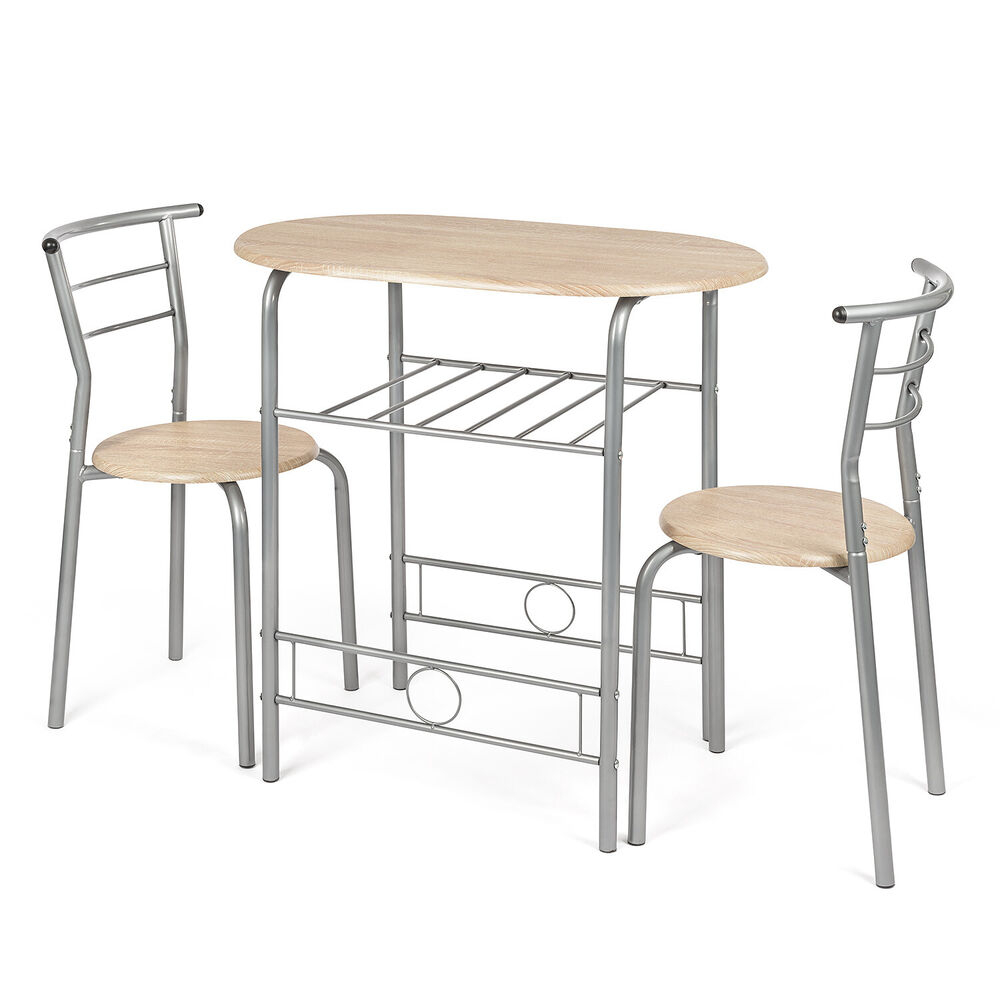 Breakfast Set Table: 3 Piece Dining Set Breakfast Bar Kitchen Table Chairs