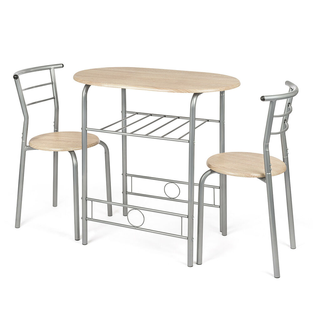 3 Piece Dining Set Bar Stools Pub Table Breakfast Chairs: 3 Piece Dining Set Breakfast Bar Kitchen Table Chairs