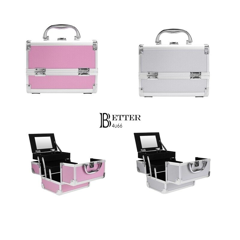 Professional Cosmetic Makeup Train Case Organizer Aluminum