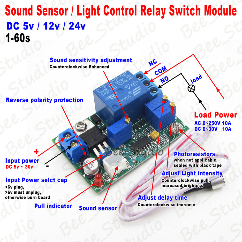 Dc 5v 12v 24v Sound Sensor Light Control Delay Turn Off Switch Led Indicator For Remote Ac Loads Relay Module Ebay