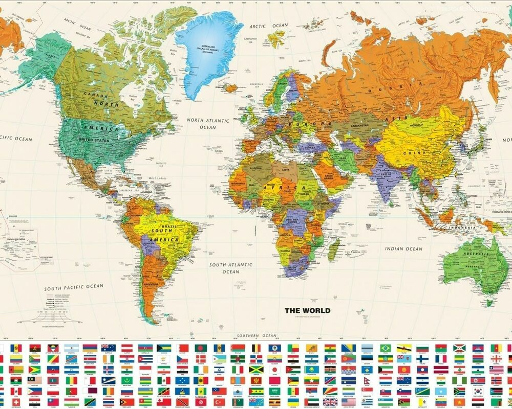 Large Framed Map Of The World.World Map With Country Flags Large Poster Art Print A3 A4 Ebay