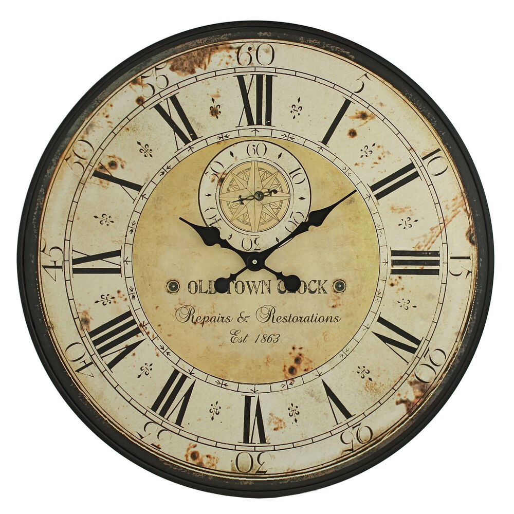 Vintage Wall Clock Rustic Antique Style Large 31 5