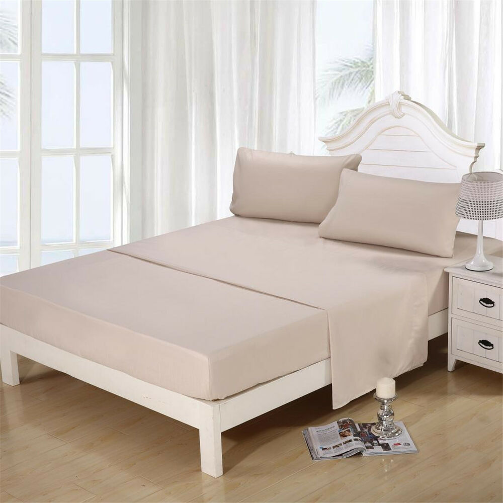 4 piece bed sheet set bedding full twin queen king california king size beige ebay. Black Bedroom Furniture Sets. Home Design Ideas