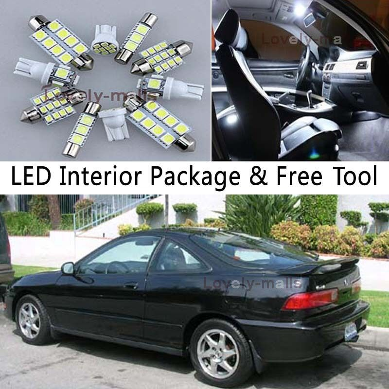 8PCS Bulb White Car LED Interior Lights Package Kit Fit 94