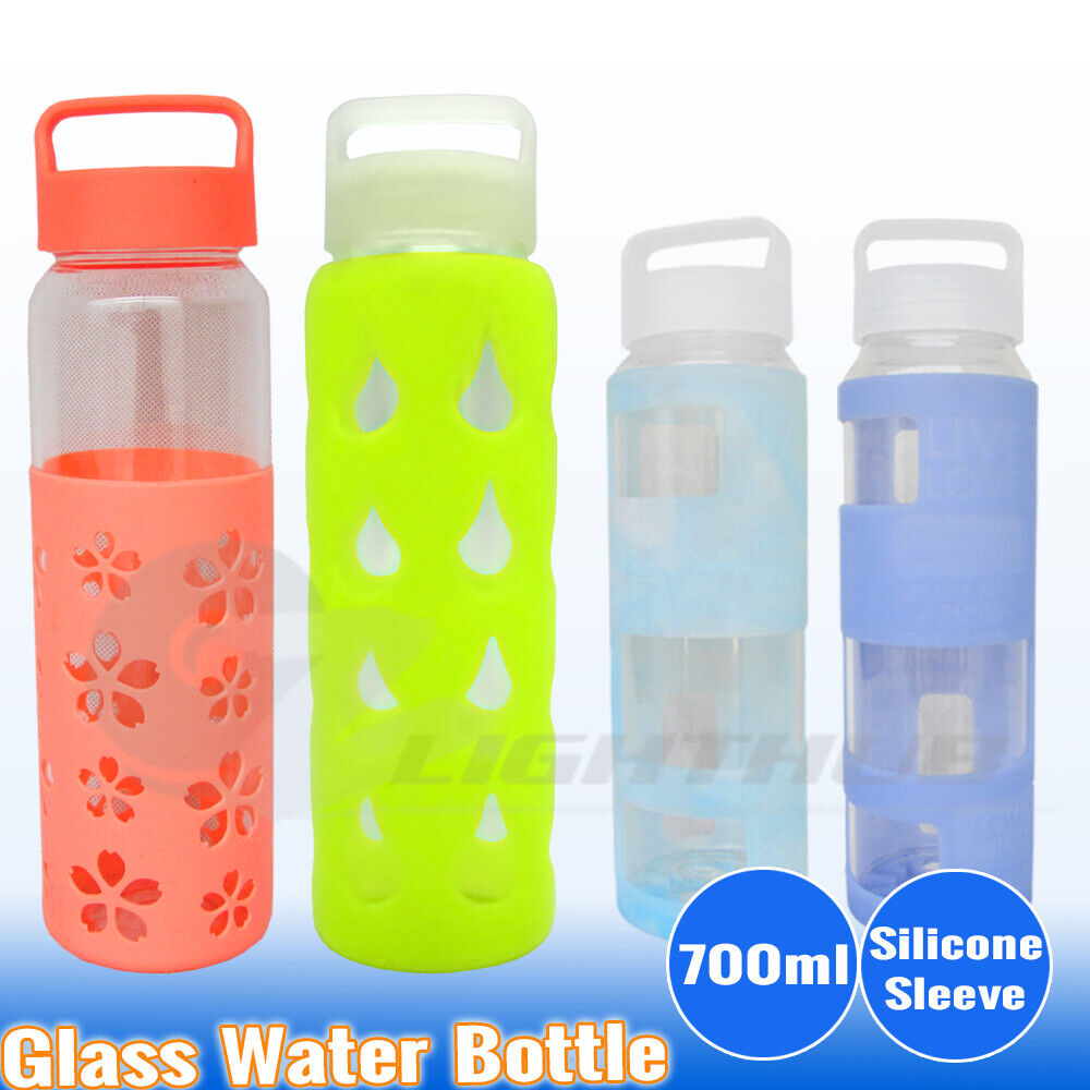 700ml Glass Water Bottle Sport Outdoor Silicone Sleeve ...