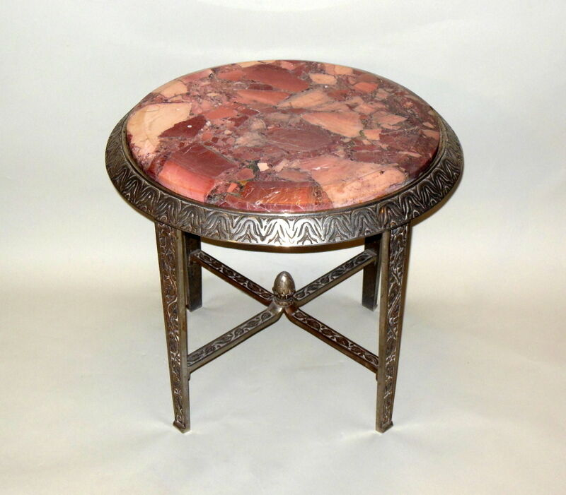 Iron Marble Top Coffee Table: Stunning ART DECO Side Occasional Cocktail Table Pink Rose